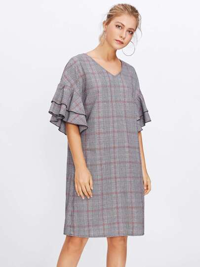 Layered Bell Sleeve Plaid Dress