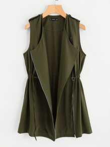 Drawstring Waist Zipper Up Vest