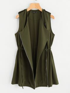 Drawstring Waist Zipper Up Vest