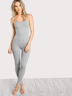 Ribbed Tank Stretch Jumpsuit GREY