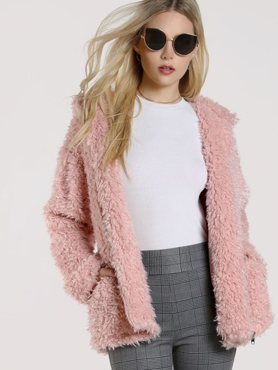 Zip Up Fuzzy Hooded Coat