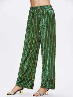 Pj Style Striped Velvet Palazzo Pants