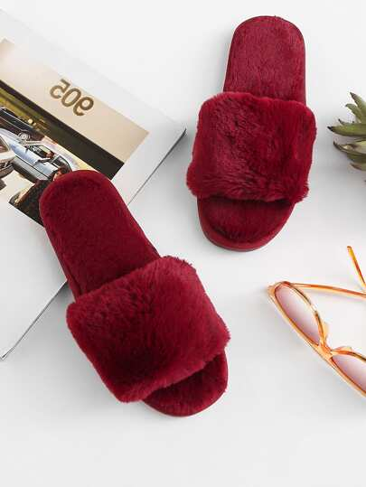 Faux Fur Overlay Flat Slippers