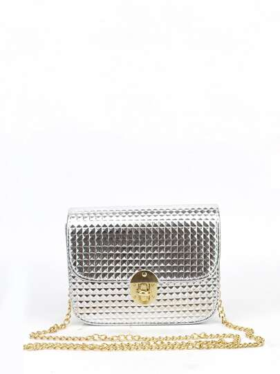Metallic Flap Chain Bag