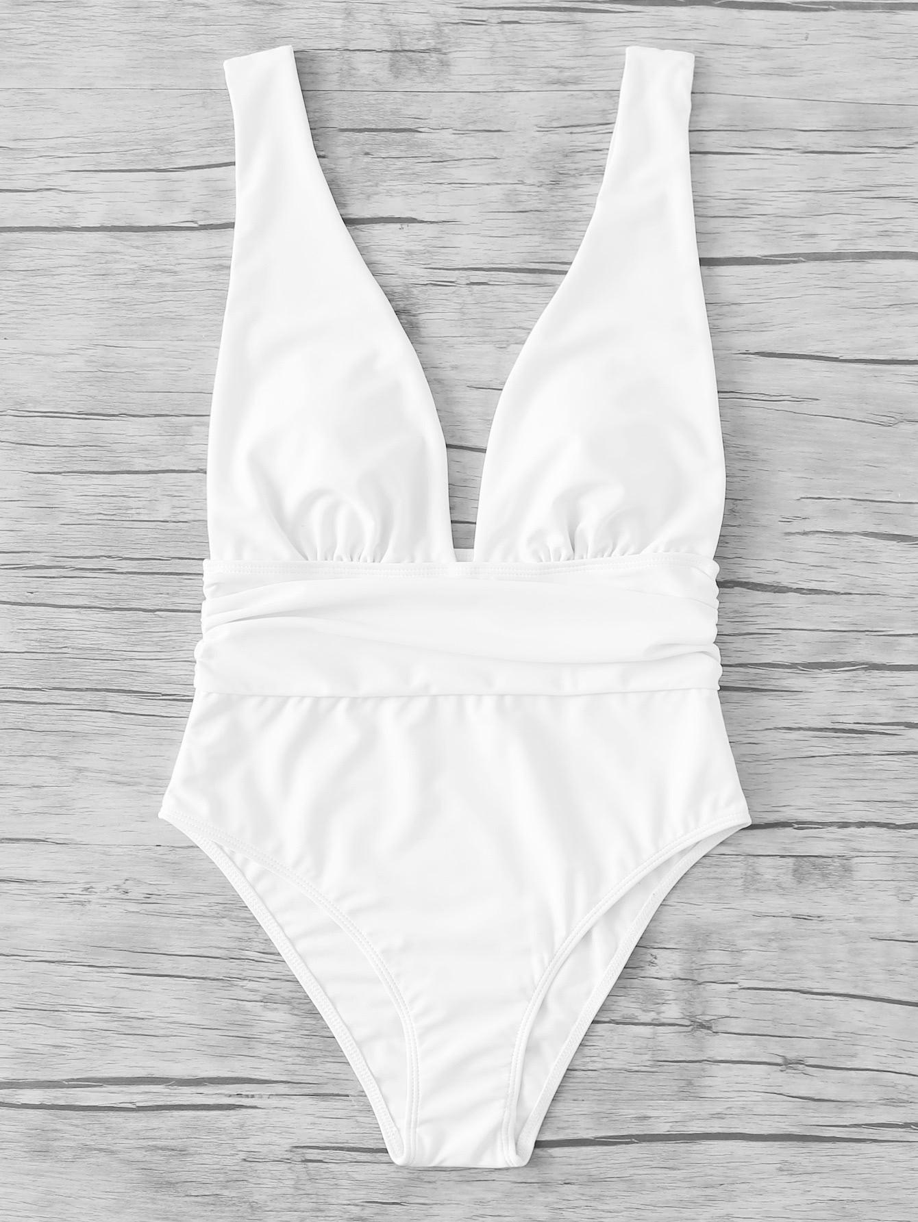 Plunge Neckline Open Back Swimsuit plunge neckline open back bikini set