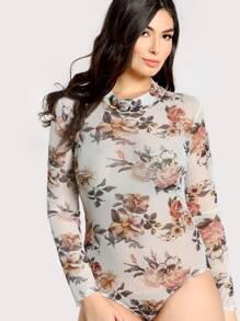 Floral Print Mesh Bodysuit