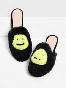 Emoji Design Two Tone Flat Slippers