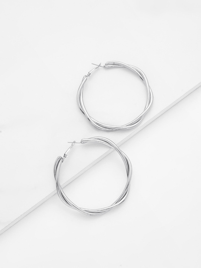 Metal Wrap Hoop Earrings