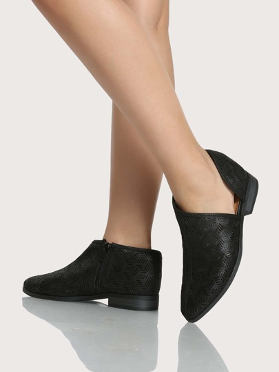 Point Toe Cut Out Flats BLACK