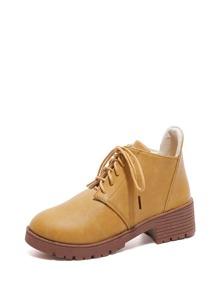 Lace Up PU Platform Ankle Boots