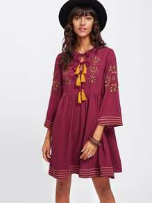 Tasseled Tied Neck Embroidery Smock Dress