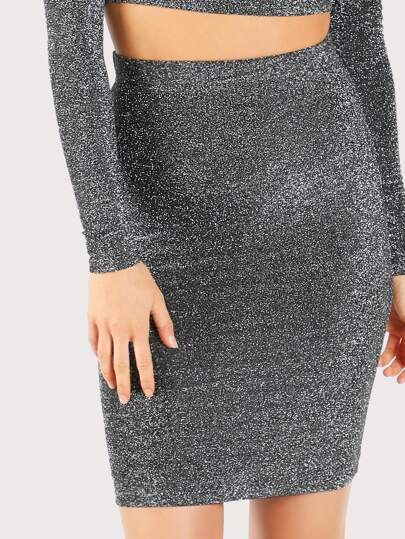 Glitter Bodycon Skirt BLACK