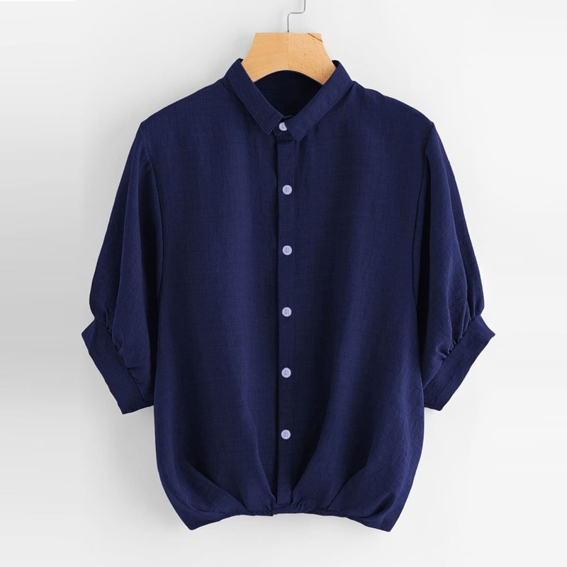 Lantern Sleeve Gathered Hem Shirt, Navy