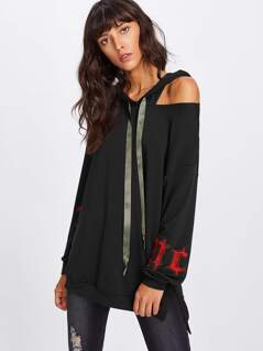 Cutout Shoulder High Low Embroidered Hoodie