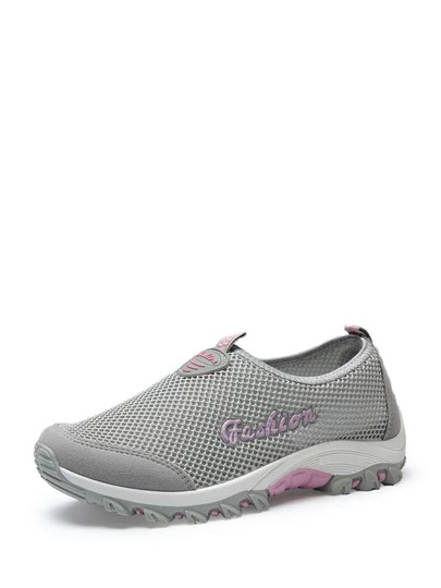 Letter Print Net Surface Slip On Sneakers