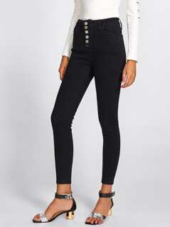 Buttoned Up Skinny Jeans