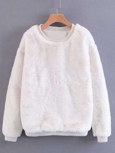 Ribbed Trim Faux Fur Sweatshirt