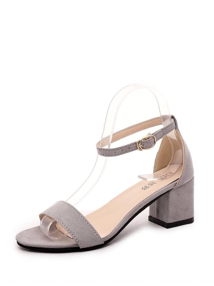 Block Heeled Ankle Strap Sandals ankle strap block heeled pu sandals