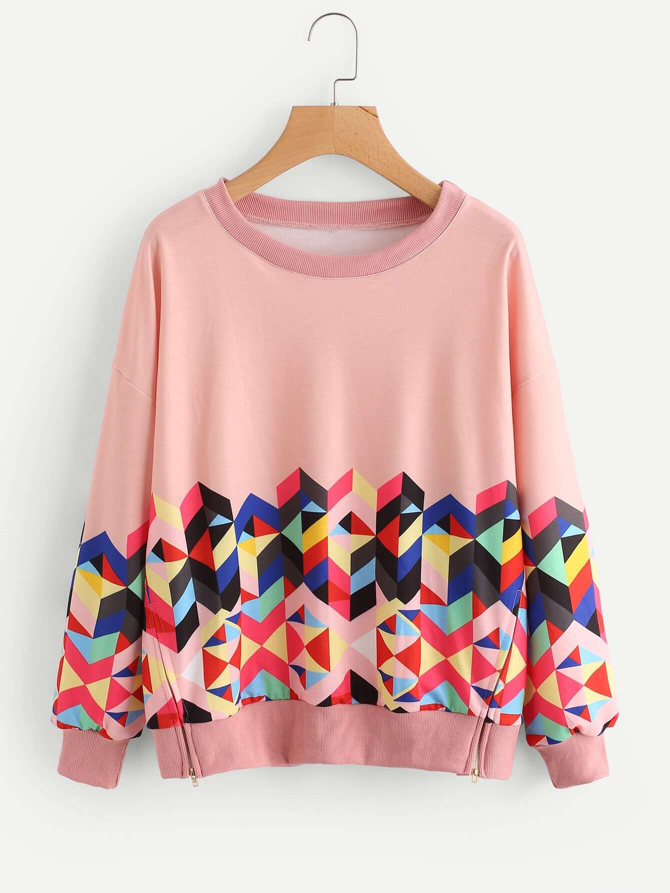 Geo Print Zipper Side Drop Shoulder Sweatshirt drop shoulder grommet tie detail sweatshirt