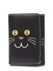 Cat Print PU Wallet