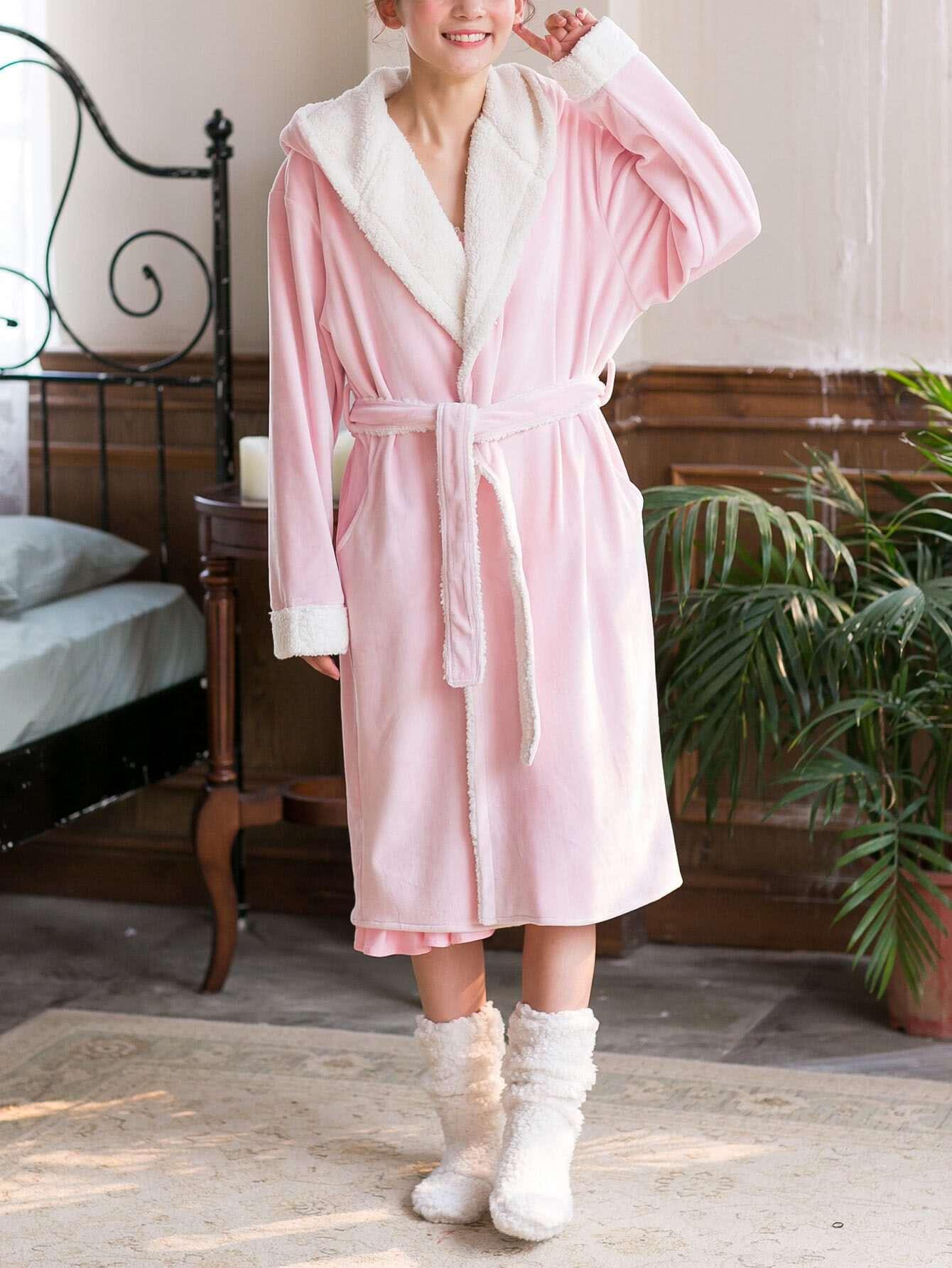Contrast Faux Fleece Lined Hooded Robe