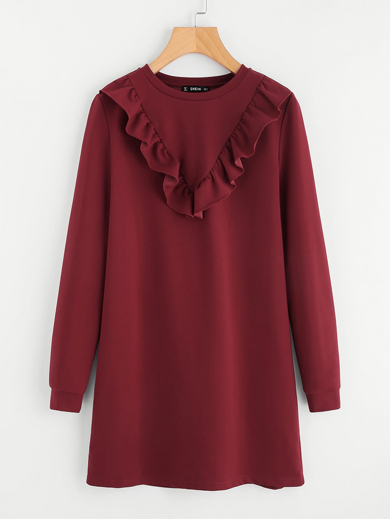 Frill Trim Sweatshirt Dress frill layered pearl detail sweatshirt dress