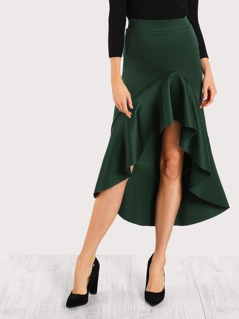 Asymmetric Flounce Trim Skirt