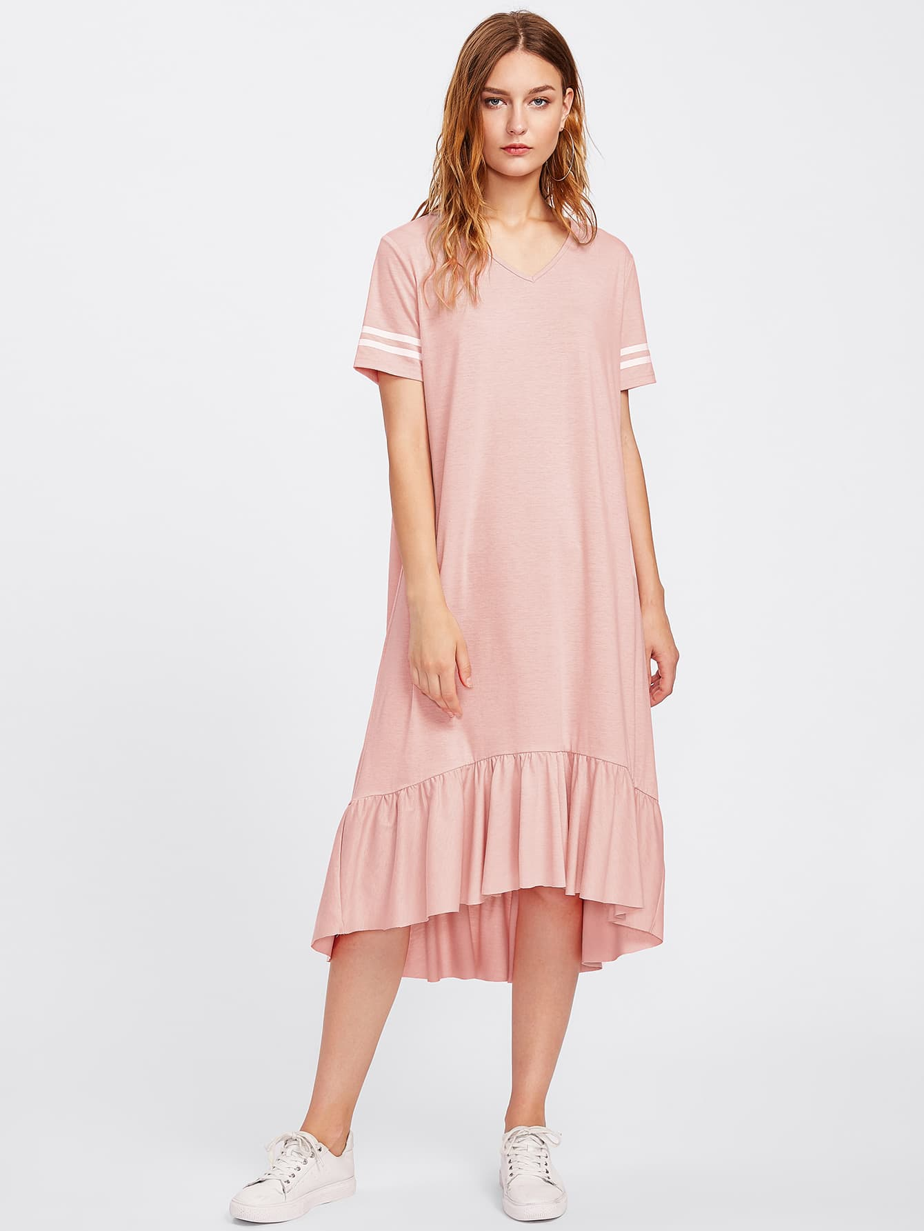 Striped Sleeve Flounce Hem Heathered Tee Dress