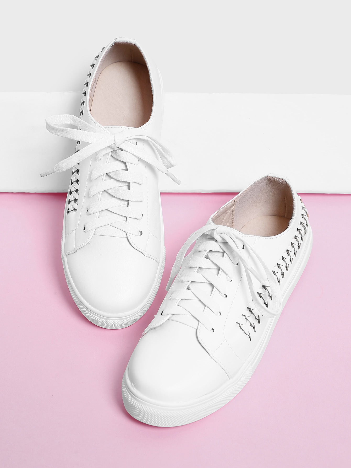 Woven Detail Lace Up Trainers woven detail lace up trainers