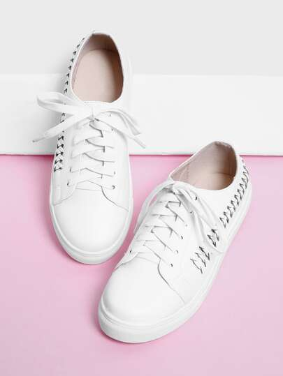 Woven Detail Lace Up Trainers