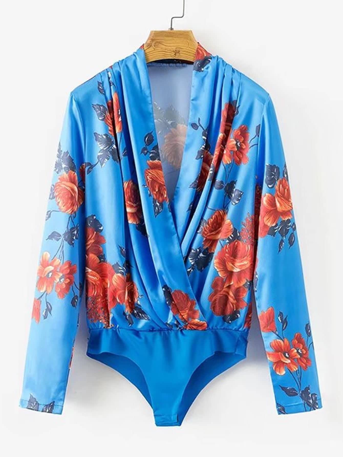 Surplice Neckline Florals Blouse Bodysuit  цена и фото