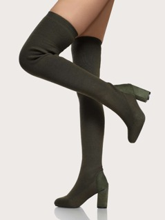 Thigh High Chunky Heel Sock Boot OLIVE