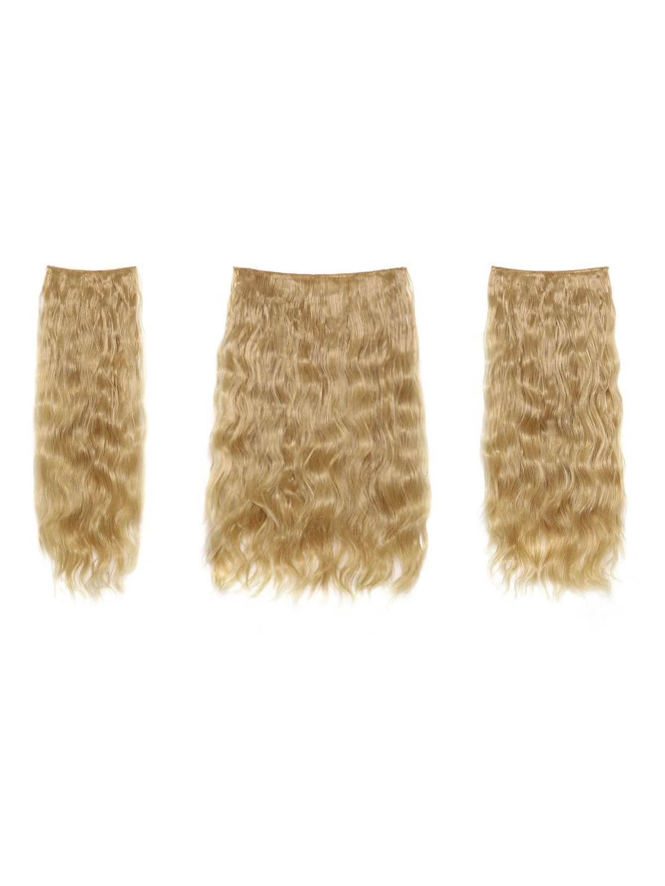 цена на Golden Blonde Clip In Curly Hair Extension 3pcs