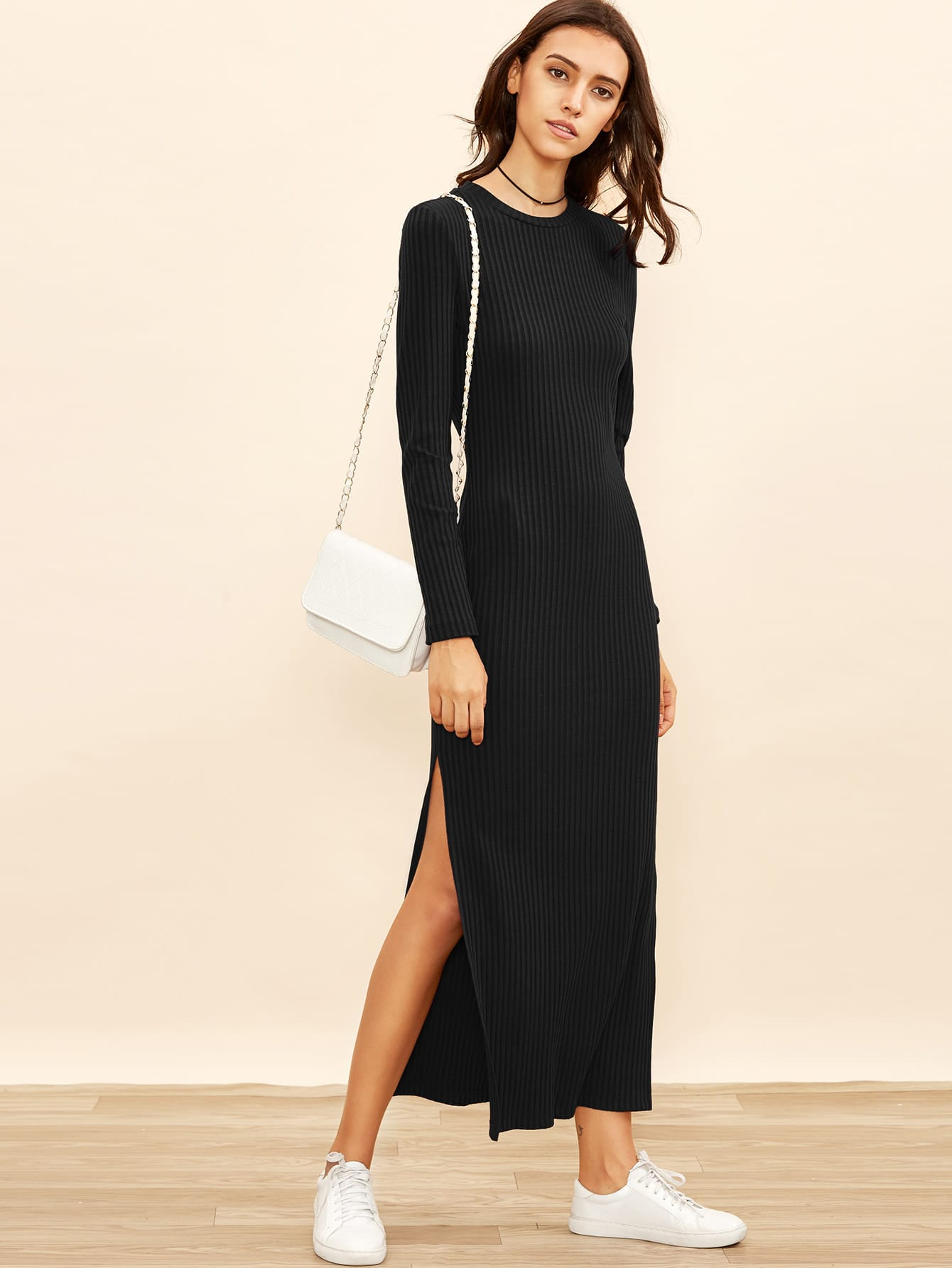Side Slit Rib Knit Column Dress dress171030706