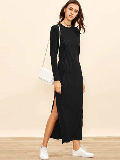 Side Slit Rib Knit Column Dress