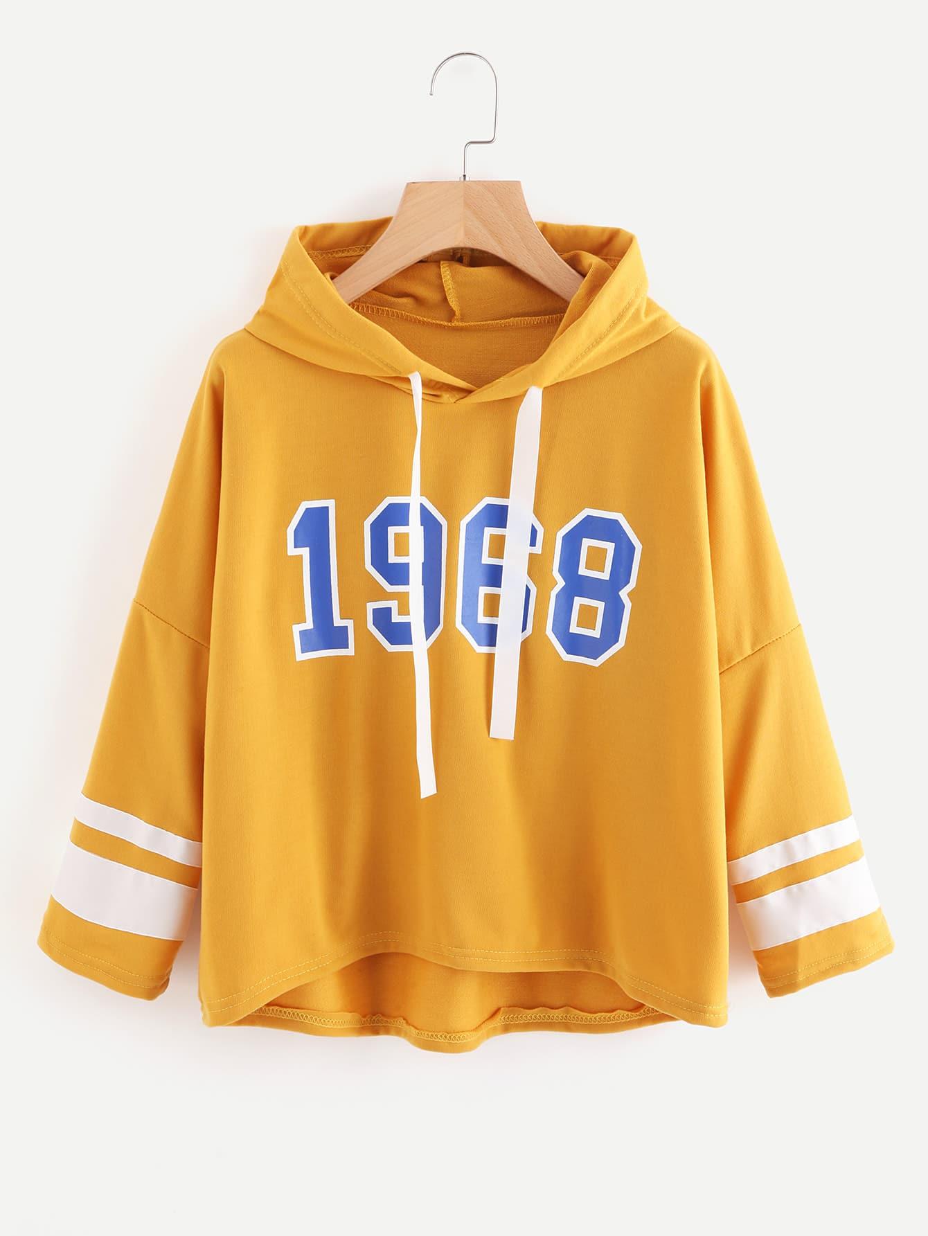 Varsity Print Drop Shoulder Hoodie two tone drop shoulder sweatshirt