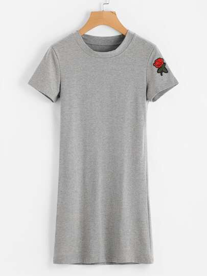 Rose Patch Tee Dress