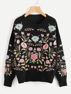 Symmetric Botanical Embroidered Jumper