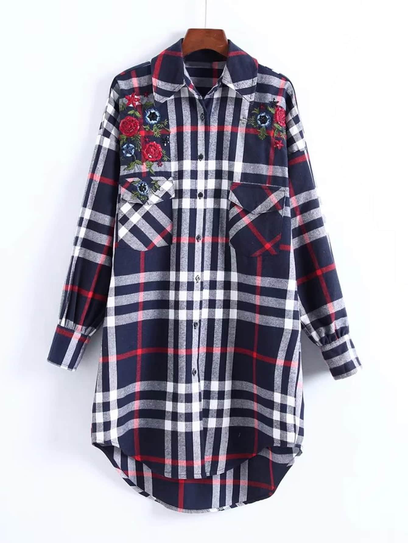 Embroidered Dolphin Hem Check Shirt Dress check plaid letter embroidered shirt dress
