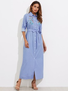 Botanical Embroidered Tie Waist Longline Shirt Dress