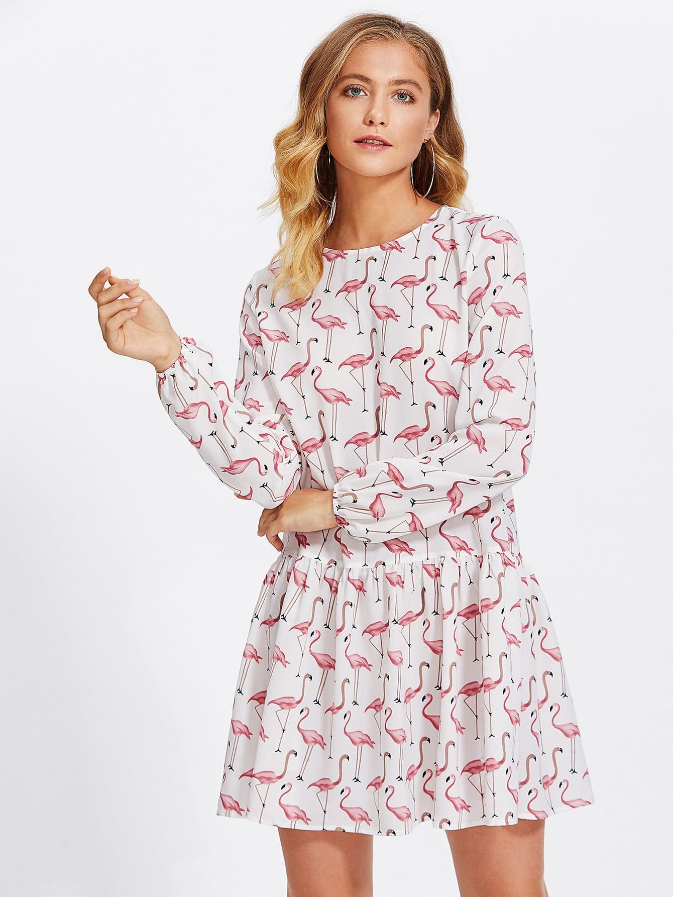 Allover Flamingo Print Smock Dress revere collar allover flamingo print blouse