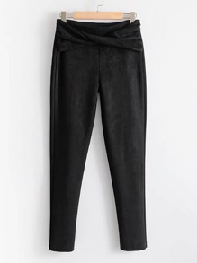 Twist Front Suede Pants