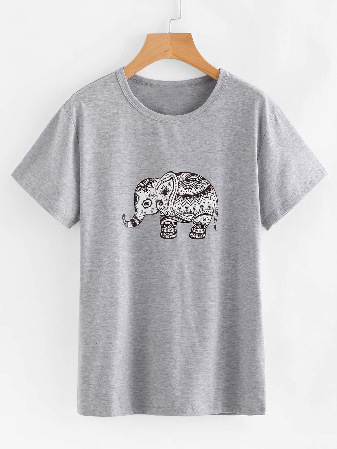 все цены на Ornate Elephant Print Tshirt