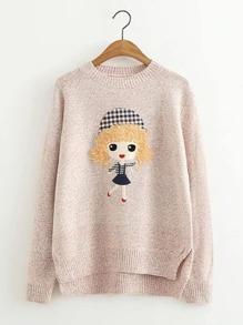 Girl Pattern Dip Hem Sweater