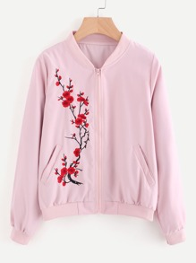 Floral Embroidered Zip Up Jacket