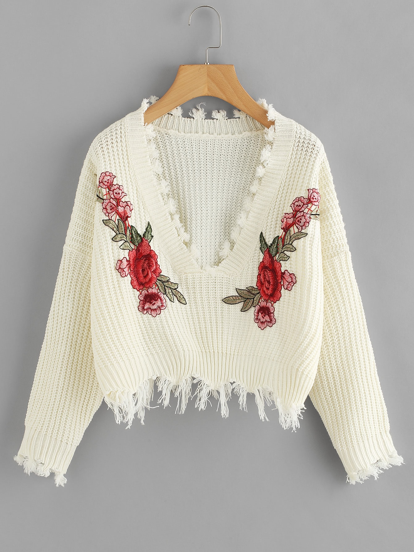 Embroidered Applique Fringe Trim Sweater cartoon embroidered sweater