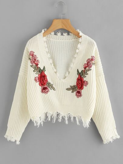 Embroidered Applique Fringe Trim Sweater