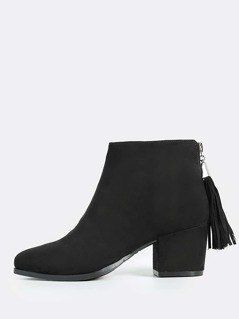 Point Toe Zip Up Boots BLACK
