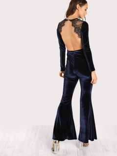 Lace Embellished Open Back Velvet Flare Jumpsuit