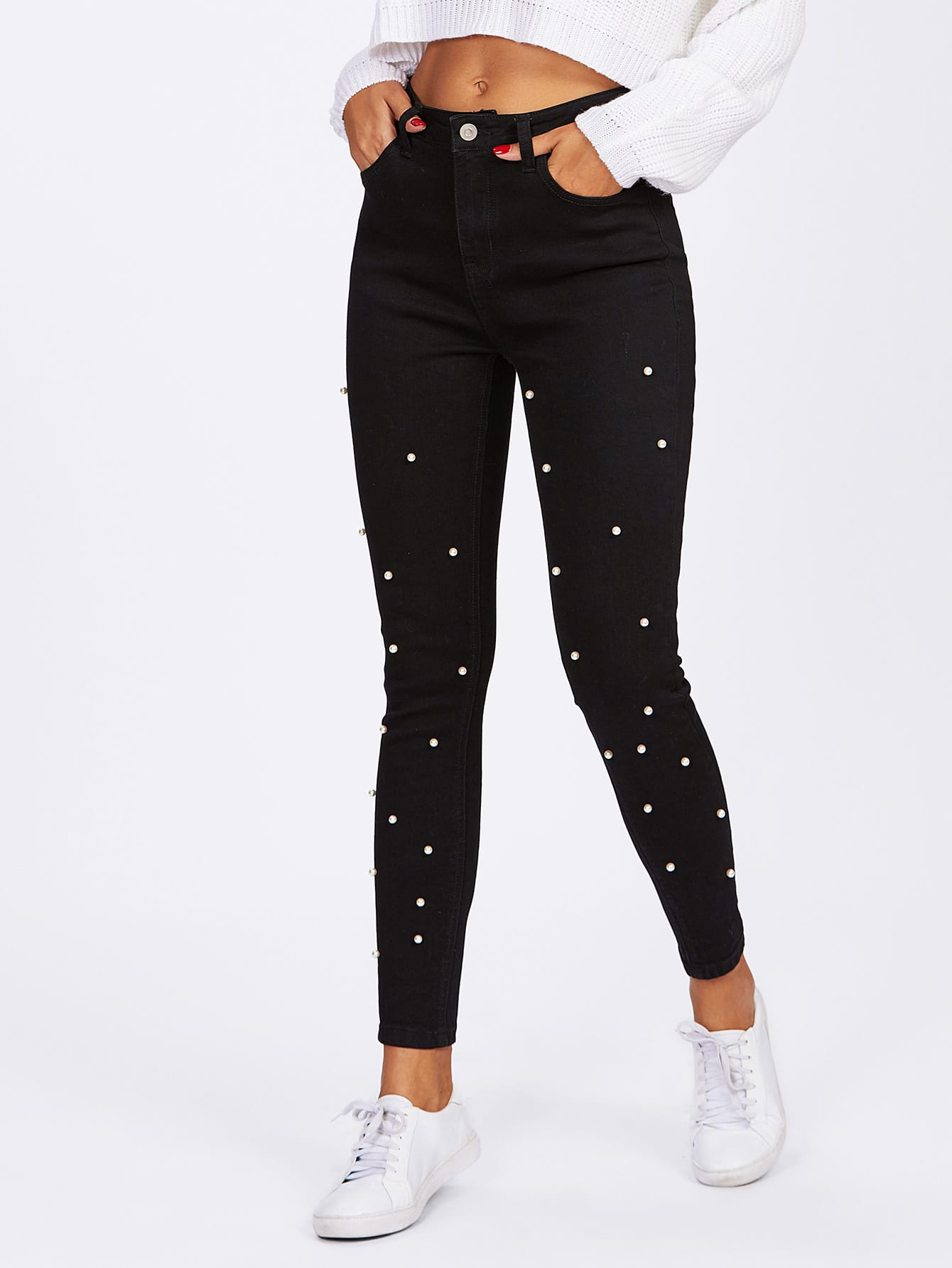 Pearl Beaded Front Jeans front